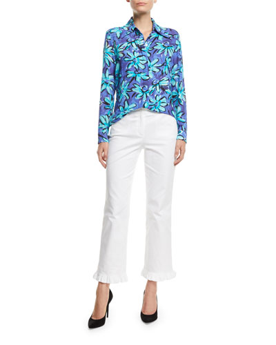 Long-Sleeve Button-Front Daisy Floral-Print Silk Georgette Shirt and Matching Items