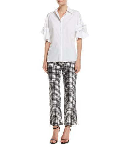 Tie-Sleeve Button-Front Cotton Poplin Shirt and Matching Items