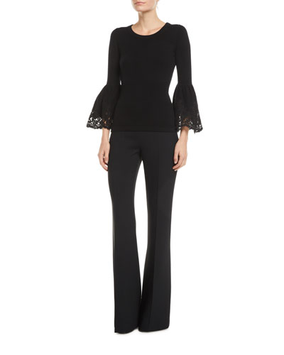 Lace Bell-Sleeve Cashmere Pullover Sweater and Matching Items