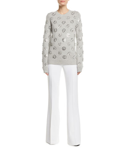 Floral-Embellished Crewneck Cashmere Pullover  and Matching Items