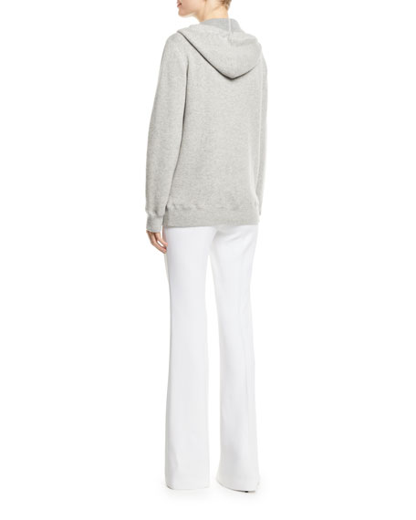 Zip-Front Cashmere Hoodie with Embellished-Cords