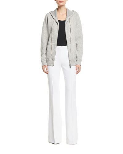 Zip-Front Cashmere Hoodie with Embellished-Cords and Matching Items