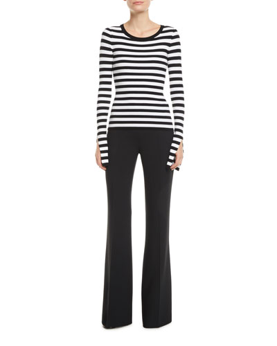 Slit-Sleeve Crewneck Striped Stretch-Viscose Sweater and Matching Items
