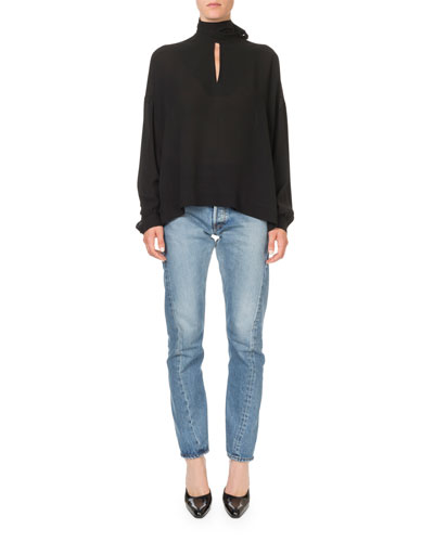 Long-Sleeve Tie-Neck Fluid Crepe Blouse and Matching Items