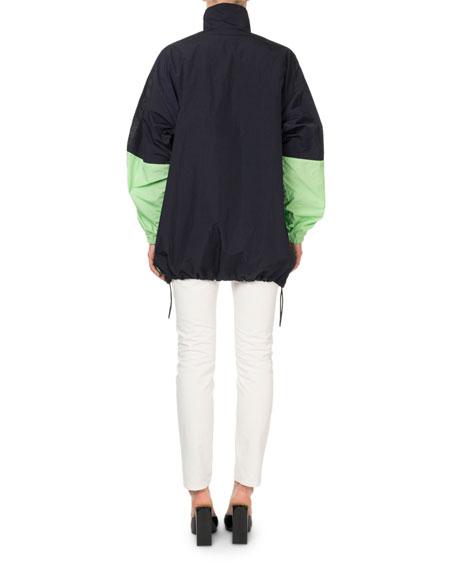 Colorblocked Zip-Front Logo Jacket