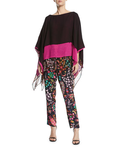 Colorblocked Floral-Hem Silk Poncho and Matching Items