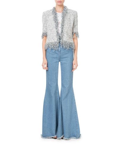 High-Waist Flare-Leg Fray Hem Jeans and Matching Items