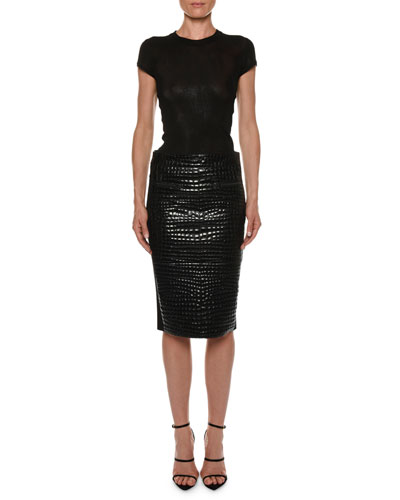 Crocodile-Embossed Leather Knee-Length Skirt and Matching Items
