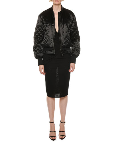 Leather-Trim Glossy-Quilted Biker Jacket   and Matching Items