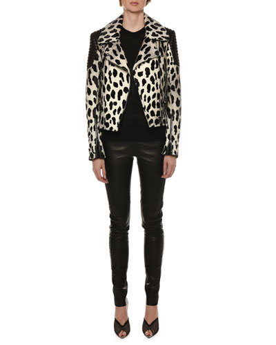 Panther-Print Calf-Hair Biker Jacket and Matching Items
