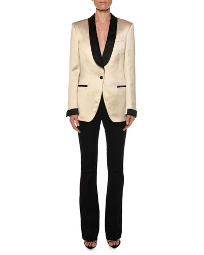 Liquid-Gabardine Contrast-Trimmed Tuxedo Jacket and Matching Items