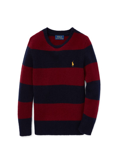 Wool-Cashmere Striped Sweater, Size 5-7