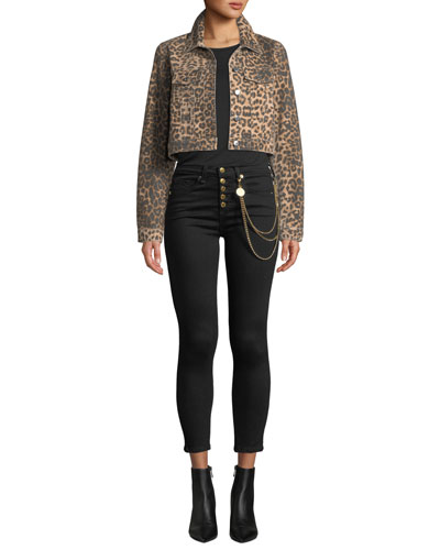 Cara Leopard-Print Cropped Jean Jacket and Matching Items
