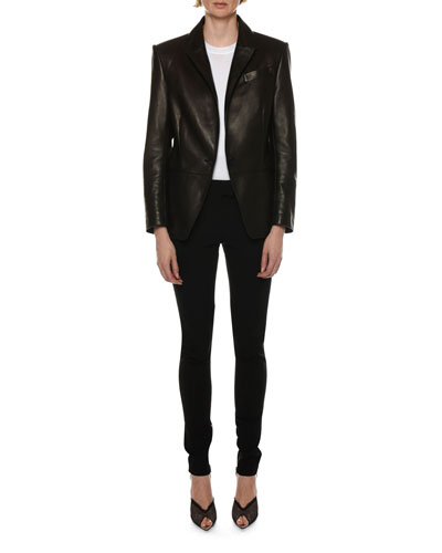 Leather One-Button Blazer Jacket and Matching Items