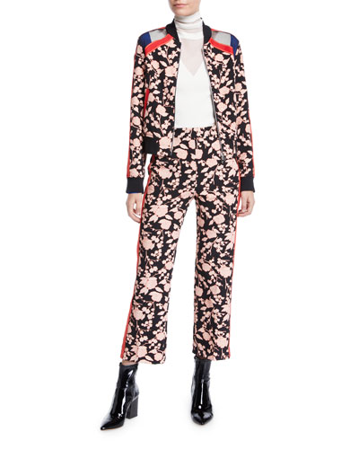 Floral Zip-Front Bomber Jacket and Matching Items