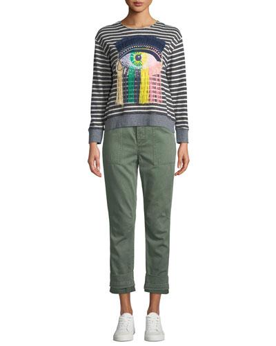 Eye C U Striped Embroidered Sweatshirt and Matching Items