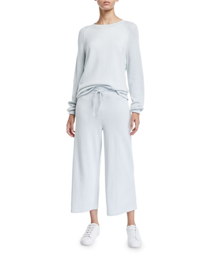 Cropped Wide-Leg Cotton Sweatpants and Matching Items