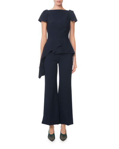 Draped Peplum Short-Sleeve Jersey Blouse  Navy and Matching Items