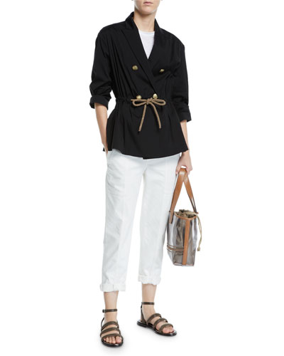 Rope-Waist Double-Breasted Poplin Blazer and Matching Items