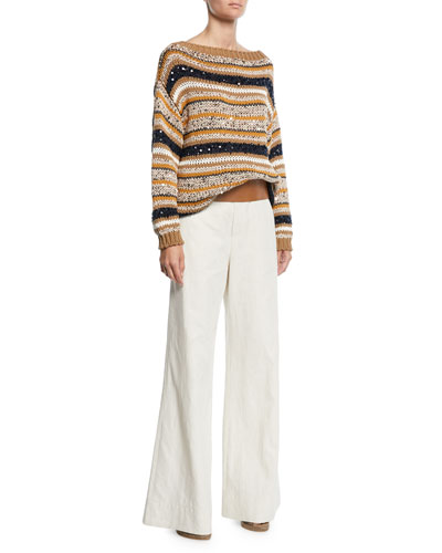 Striped Sequined Knit Sweater and Matching Items