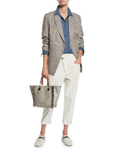 Safari-Pocket Denim Button-Front Blouse and Matching Items