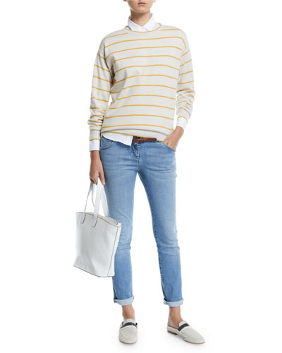 Striped Wool-Cashmere Crewneck Sweater and Matching Items