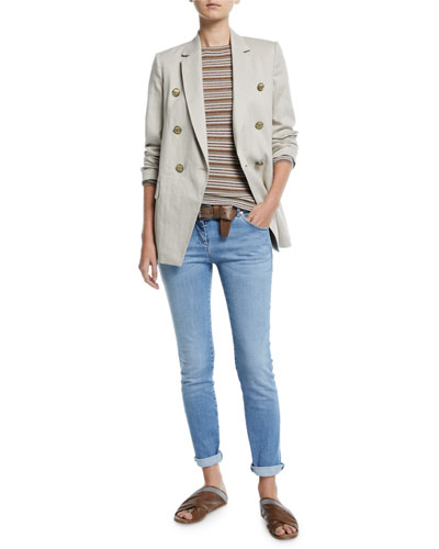 Double-Breasted Cotton-Linen Chevron Blazer and Matching Items