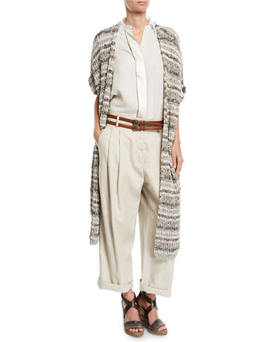 Sequined Striped Cotton-Net Duster Cardigan and Matching Items