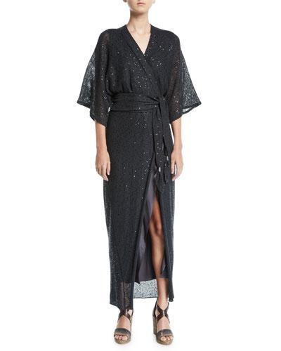 Monili-Beaded Linen-Silk Wrap Kimono Dress and Matching Items