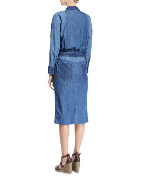 Monili-Collared Denim Midi Shirtdress