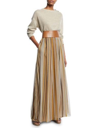 Crewneck Button-Shoulder Linen-Silk Sweater and Matching Items