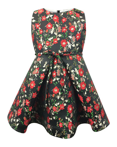 Sleeveless Floral Jacquard Dress, Size 12-18 Months  and Matching Items