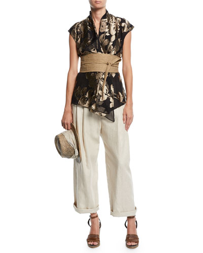 Rustic Linen Wide-Leg Cuffed Trousers and Matching Items