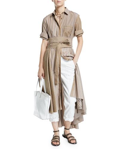 Belted Striped-Poplin Midi Shirtdress and Matching Items