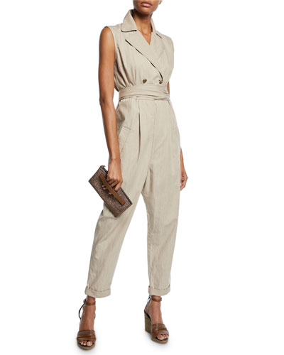 Double-Breasted Safari Cotton Jumpsuit and Matching Items