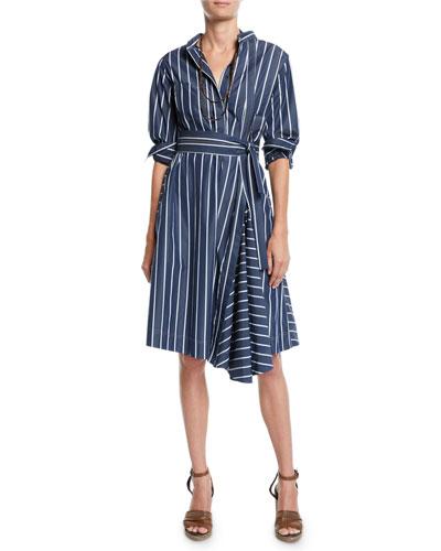 Pinstriped-Poplin Midi Shirtdress and Matching Items