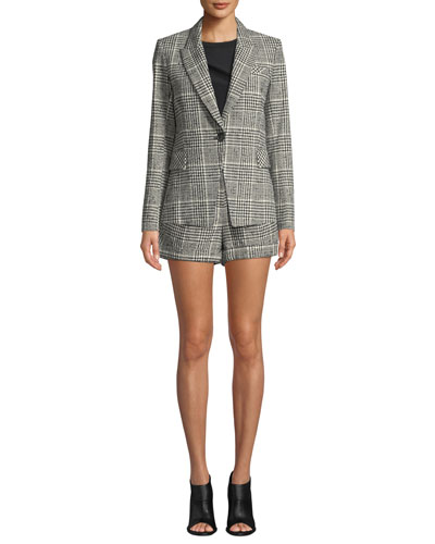 Rhett Plaid Single-Button Dickey Jacket and Matching Items