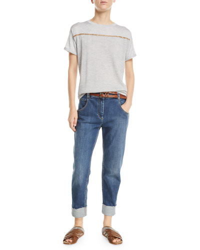 Cashmere Monili-Striped Short-Sleeve Sweater and Matching Items