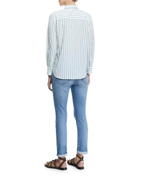 Striped Button-Front Cotton Blouse