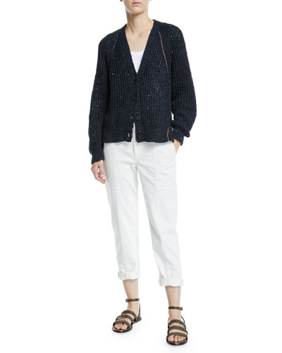 Shimmered Linen-Silk Ribbed Cardigan and Matching Items