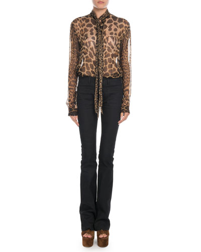 Tie-Neck Leopard Chiffon Blouse and Matching Items