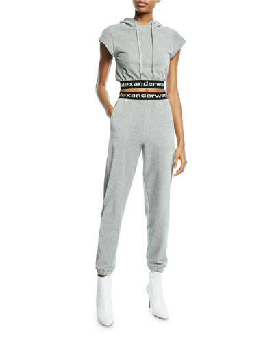 Stretch Corduroy Cap-Sleeve Cropped Hoodie  and Matching Items
