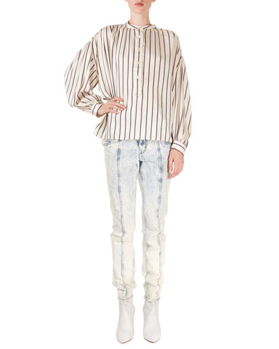 Striped Charmeuse Crewneck Popover Blouse and Matching Items
