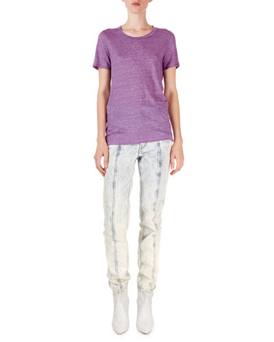 Short-Sleeve Heathered Linen Tee and Matching Items