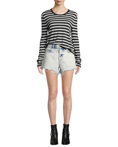 Wide Striped Slub Jersey Ls  and Matching Items