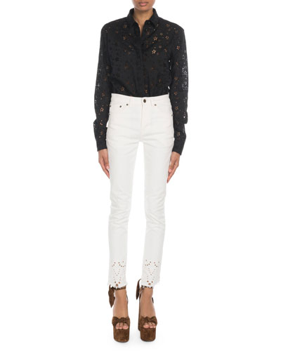 Star-Embroidered Eyelet Button-Front Blouse and Matching Items
