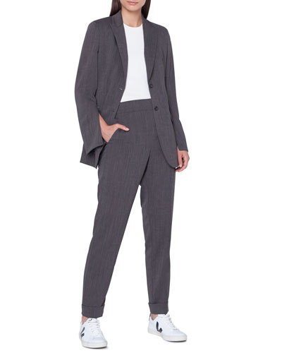 Long 2-Button Cool Wool Crepe Jacket and Matching Items