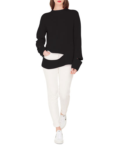 Crewneck Ribbed Cashmere Pullover Sweater and Matching Items