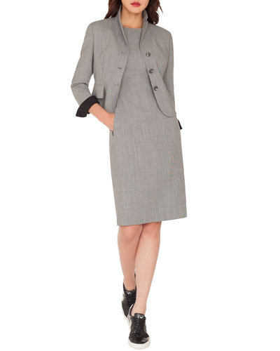 Short End-on-End Woven Wool-Blend Jacket and Matching Items