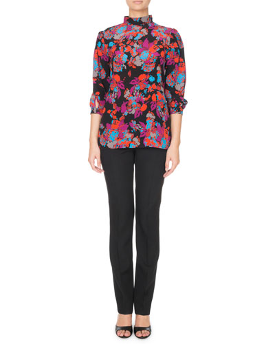 3/4-Sleeve Floral-Print Mock Neck Blouse and Matching Items
